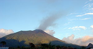 Volcano in Maluku Islands in North Halhamera