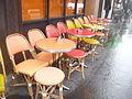 Terrasse du café Le Tournesol 9 rue de la Gaité à Paris un matin pluvieux de novembre 2015 - P1440464.JPG