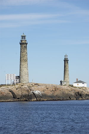 Cape Ann Light Station - The northern lighthouse is to the right in this 2009 photo.
