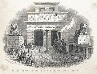 The Britannia tubular bridge: entrance from the Bangor side