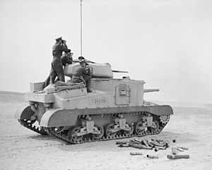 Jock Campbell (British Army officer) - Campbell and Auchinleck watch for fall of shot atop a newly arrived Grant tank