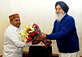 The Chief Minister of Punjab, Shri Prakash Singh Badal meeting the Union Minister for Social Justice and Empowerment, Shri Thaawar Chand Gehlot, in New Delhi on February 20, 2015.jpg