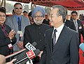 The Chinese Premier, Mr. Wen Jiabao and the Prime Minister, Dr. Manmohan Singh interacting with the media, at the Ceremonial Reception, at Rashtrapati Bhawan, in New Delhi on December 16, 2010.jpg