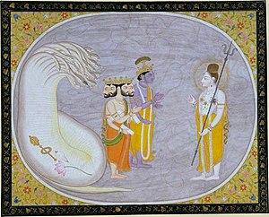"Cosmic ocean - ""The Cosmic Ocean Reveals Brahma, Vishnu, and Shiva"