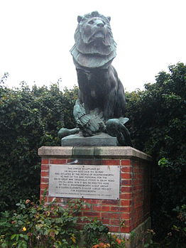 The Lion and the Eagle which used to top the War Memorial, now in the public gardens behind the Council Offices.jpg