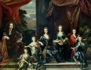 John Closterman - A later painting of The Marlborough family by John Closterman. On the Duke's left are Elizabeth, Mary, the Duchess, Henrietta, Anne and John.