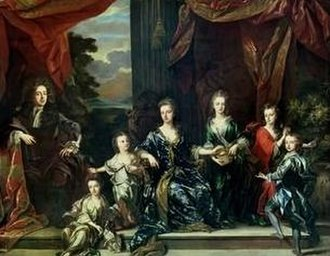 John Churchill, 1st Duke of Marlborough - The Marlborough family c. 1694 by John Closterman. On the Duke's left are Elizabeth, Mary, the Duchess, Henrietta, Anne and John.