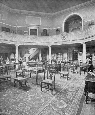 Mallett Antiques - A rare photograph of the Mallett Showrooms at the Octagon Chapel, Bath, circa 1900.