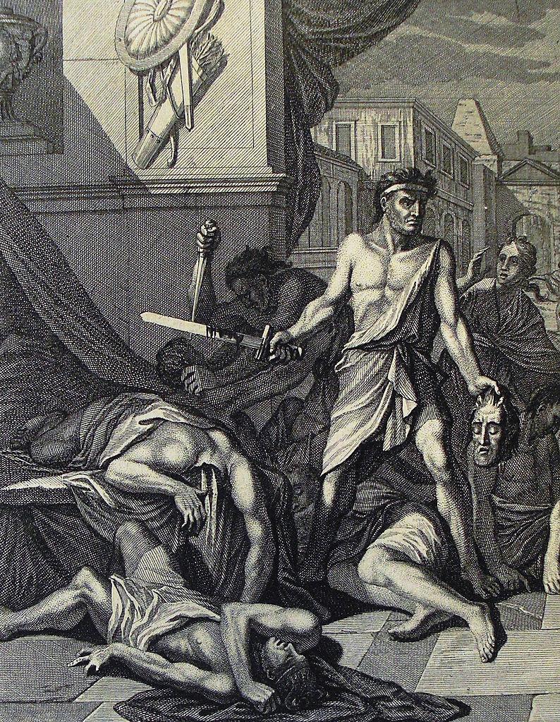 The Phillip Medhurst Picture Torah 172. Simeon and Levi slay Hamor and Shechem. Genesis cap 34 vv 25-26. Caspar Luyken
