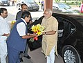 The Prime Minister Shri Narendra Modi being welcomed by the Union Minister of Rural Development, Drinking Water & Sanitation, Panchayati Raj, Shipping, Road Transport & Highways.jpg