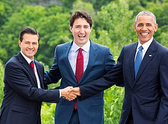 Former President Enrique Pena Nieto with Prime Minister Justin Trudeau of Canada and Former President Barack Obama of the United States at the 2016 North American Leaders' Summit The Three Amigos 2016.jpg