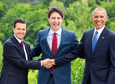 Former President Enrique Pena Nieto with Prime Minister Justin Trudeau of Canada and President Barack Obama of the United States at the 2016 North American Leaders' Summit The Three Amigos 2016.jpg