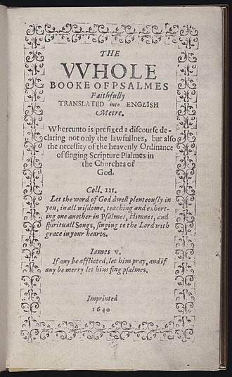Bay Psalm Book - Image: The Whole Booke of Psalmes imprinted 1640 title page