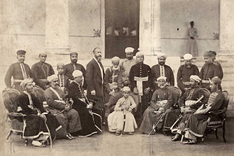 Mahbub Ali Khan, Asaf Jah VI - The young Nizam with his two regents and other noblemen