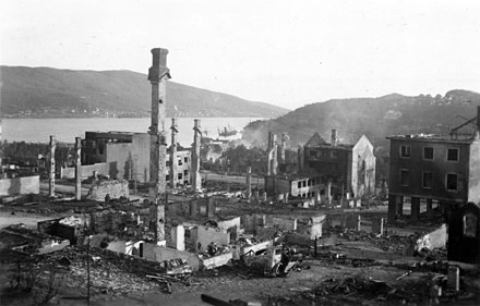 Narvik, after bombing by the Luftwaffe The center of Narvik after bombardment.jpg