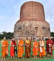 The delegates of the International Buddhist Conclave – 2018 visiting the Sarnath Stupa, at Varanasi, in Uttar Pradesh on August 26, 2018.JPG