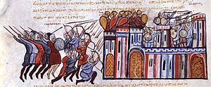 The seizure of Edessa in Syria by the Byzantine army and the Arabic counterattack from the Chronicle of John Skylitzes.jpg