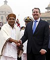 The visiting UK Secretary of State for Defence, Mr. Liam Fox being received by the Defence Minister, Shri A. K. Antony, in New Delhi on November 23, 2010.jpg