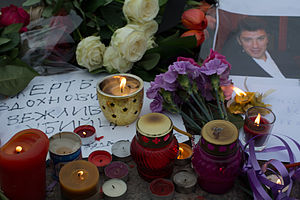 Assassination of Boris Nemtsov - Flowers and candles near the site of Nemtsov's assassination