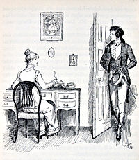 Illustration. Elizabeth, assise à un bureau, est surprise par l'entrée de Darcy qui la salue