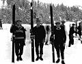 Three men posed on ski slope, Leavenworth (1906706165).jpg