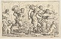 Three satyrs carrying the drunken Silenus, preceded by a putto carrying grapes; behind them a satyr carrying a large vessel, a putto, and a bare-breasted woman MET DP828585.jpg
