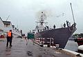 Throwing mooring lines ashore 130802-N-YU572-046.jpg