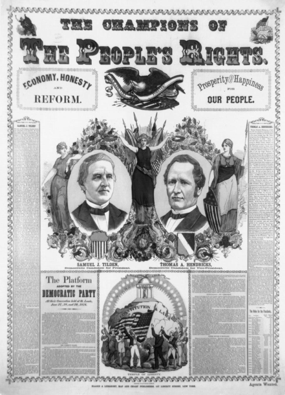 Tilden and Hendricks campaign poster