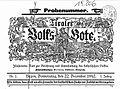 Tiroler Volksbote, Kopf der ersten Ausgabe vom 22. Dezember 1892.jpg