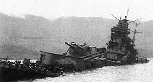 Japanese cruiser Tone (1937) - Tone sunk near Kure