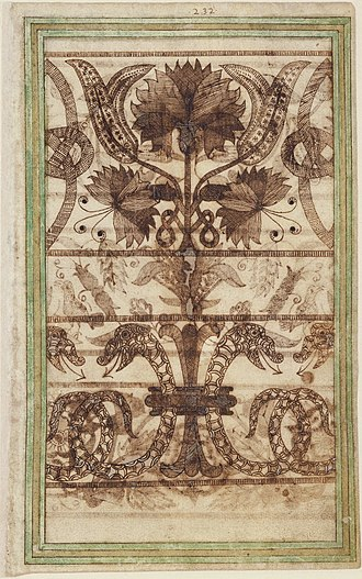 Miscellany - A patterned page from the Trevelyon Miscellany of 1608