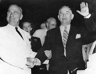 1948 Democratic National Convention - Truman and Barkley shaking hands at the convention