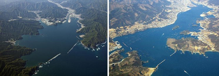 Tsunami breakwaters in Kamaishi city and in Ofunato city before the 2011 tsunami
