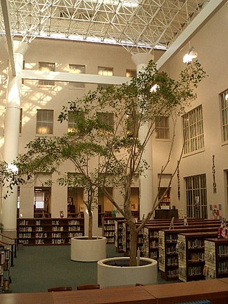 Tucson High Magnet School - Interior of the library, this area, which was once a courtyard, now serves as an atrium.