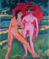 Two Girls under an Umbrella