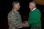 U.S. Army Lt. Gen. Salvatore Angelella, left, the commander of U.S. Forces Japan, greets Secretary of Defense Chuck Hagel Oct. 2, 2013, at Yokota Air Base, Japan 131002-D-BW835-2070.jpg