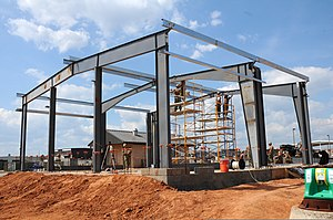 Pre-engineered building - A pre-engineered metal building under construction