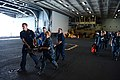 U.S. Sailors carry a simulated victim during a mass causality training exercise in the hangar bay aboard the aircraft carrier USS George H.W. Bush (CVN 77) in the Atlantic Ocean May 21, 2013 130521-N-YZ751-072.jpg