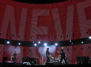 "The Fly (song) - ""U2 performing The Fly on the opening night of the European leg at King Baudouin Stadium in Brussels on 10 June 2005."