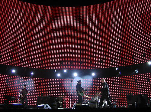 West's experiences on arena rock tours such as U2's Vertigo Tour (pictured) inspired his direction for the album. U2 brussels fly 2005-10-06.jpg