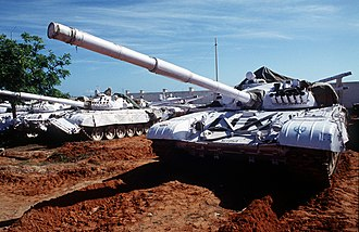Unified Task Force - Indian Army T-72 tanks with UN markings in support of Operation Continue Hope