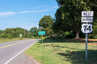 Special routes of U.S. Route 74 - US 74 Business at the Cleveland/Rutherford County line