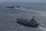 USS Dwight D. Eisenhower (CVN-69) and USS George Washington (CVN-73) underway with USNS Leroy Grumman (T-AO-195) in April 2016.JPG
