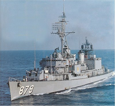 USS Leary (DD-879) underway at sea, circa in 1972