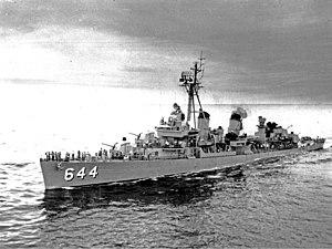 USS Stembel (DD-644) - Image: USS Stembel (DD 644) underway in 1957