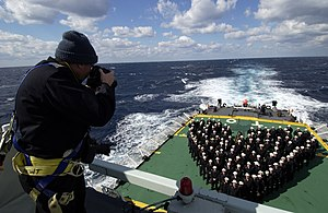 HMCS Toronto (FFH 333) - Image: US Navy 040214 N 5319A 003 Canadian Navy, Master Corporal Christopher Kelly photographs the crew of the Canadian Navy Halifax class patrol frigate, HMCS Toronto (FFH 333) on Valentine's Day