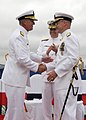 US Navy 100610-N-9271M-198 Rear Adm. Edward Hebner relieves Rear Adm. Frank J. Drennan as Commander, Naval Mine and Anti-submarine Warfare Center during a ceremony at Naval Base Point Loma, Calif.jpg