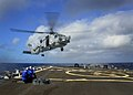US Navy 111111-N-RI884-108 An SH-60B Sea Hawk helicopter assigned to the Easy Riders of Helicopter Anti-Submarine Squadron Light (HSL) 37 lands abo.jpg