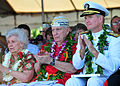US Navy 111207-N-QF605-005 Pearl Harbor survivor Mal Middlesworth and Adm. Patrick Walsh, commander of U.S. Pacific Fleet, applaud during a ceremon.jpg