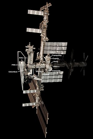 US Orbital Segment - The US Orbital Segment with Space Shuttle docked. Zarya is also a NASA module but it is Russian-made